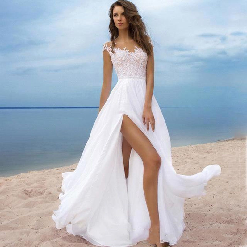 Lace Top with Side Slit Satin A-Line Wedding Dress - Mr. & Mrs. Tomorrow