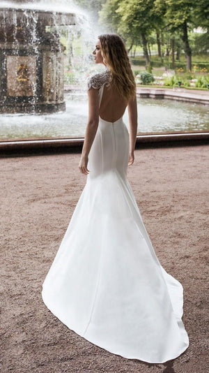 Sexy Front Slit Mermaid with Gorgeous Shoulder Detail - Mr. & Mrs. Tomorrow