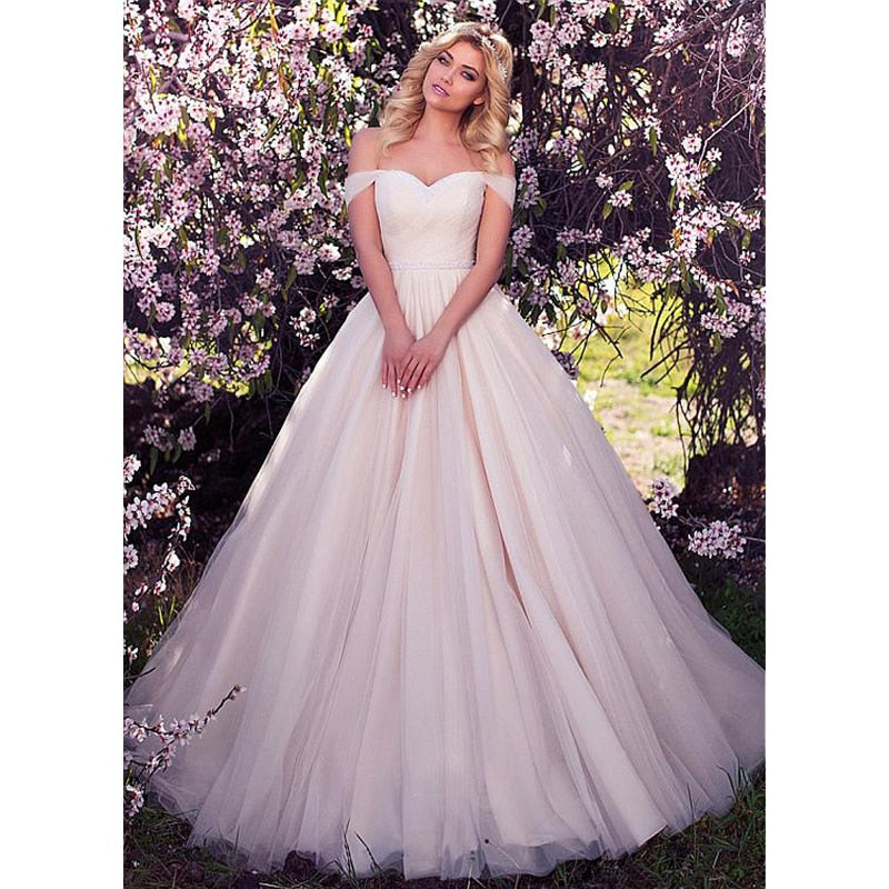 Simple Romantic Off Shoulder Tulle Ball Gown - Mr. & Mrs. Tomorrow