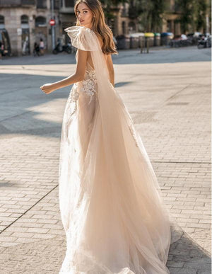 One Shoulder Tulle A-Line Wedding Dress - Mr. & Mrs. Tomorrow