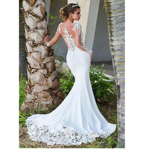 Glamorous Lace Back Design Mermaid Wedding Dress - Mr. & Mrs. Tomorrow