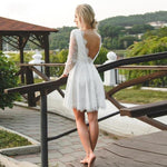 Mini Wedding Dress with Sexy Back and Flare Skirt - Mr. & Mrs. Tomorrow