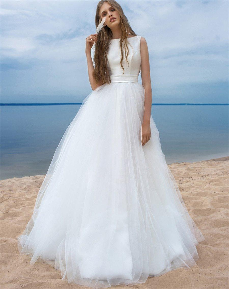 Sleeveless Boat Neck Wedding Dress with Bow Sash - Mr. & Mrs. Tomorrow
