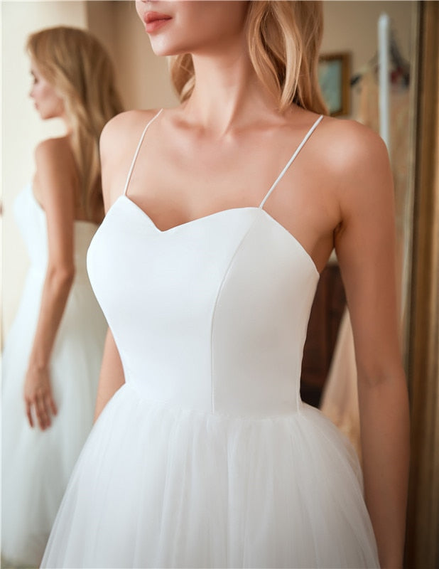 Tea-Length Strapped Wedding Dress with Tulle Skirt - Mr. & Mrs. Tomorrow