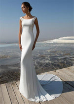 Soft Satin Sheath Wedding Dress with Intricate Lace Sides and Back - Mr. & Mrs. Tomorrow