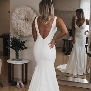 Simple V-neck and Backless Trumpet Wedding Dress with Sweep Train - Mr. & Mrs. Tomorrow