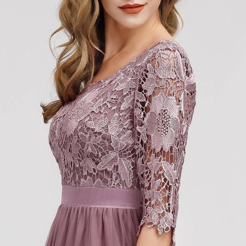 Lace Appliques Vintage O Neck Half Sleeve A-Line - Mr. & Mrs. Tomorrow