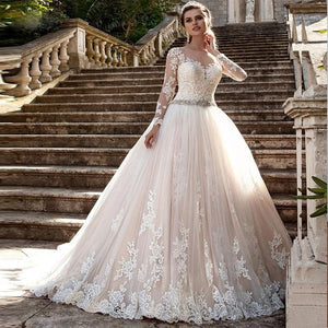 Lace Appliqued Court Train Ball Gown with Illusion Neckline - Mr. & Mrs. Tomorrow