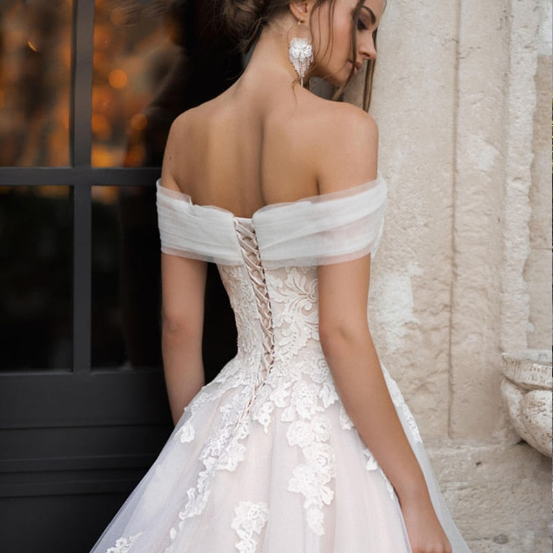 Off Shoulder Ball Gown with Lace Appliques and Sweep Train - Mr. & Mrs. Tomorrow