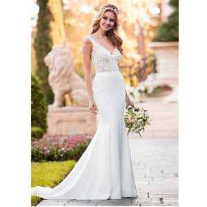V-neck Mermaid Wedding Dress with Satin Sweep Train - Mr. & Mrs. Tomorrow