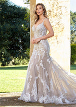 Soft Tulle Trumpet Wedding Dress with Delicate Lace Appliques - Mr. & Mrs. Tomorrow
