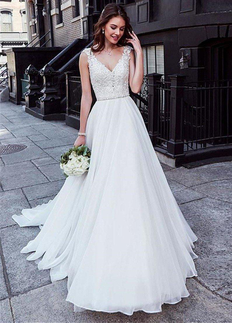 Lace Top A Line Wedding Dress With Sweep Train