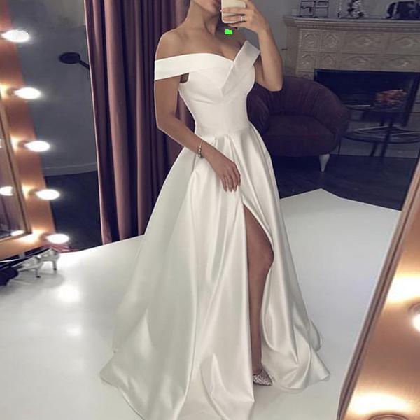 Off Shoulder A-Line Wedding Dress with Right Slit - Mr. & Mrs. Tomorrow