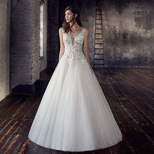 Deep V-neck with Pleated Tulle A-Line Wedding Dress - Mr. & Mrs. Tomorrow