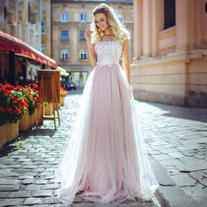 Illusion Boat Neck with A-Line Tulle Wedding Dress - Mr. & Mrs. Tomorrow