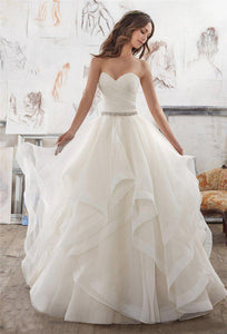 Sweetheart Wedding Dress with Layered Organza Court Train - Mr. & Mrs. Tomorrow