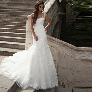 Romantic Laced Trumpet Wedding Dress with Sexy Back - Mr. & Mrs. Tomorrow