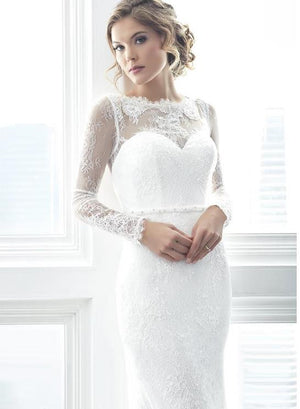 Intricate Laced Sheath Wedding Dress with Long Sleeve - Mr. & Mrs. Tomorrow