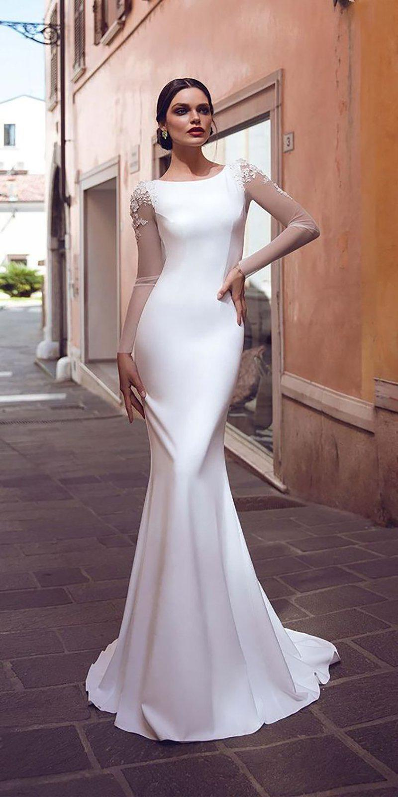 Long Sleeve Satin Mermaid Wedding Dress with Illusion and Lace Appliques - Mr. & Mrs. Tomorrow