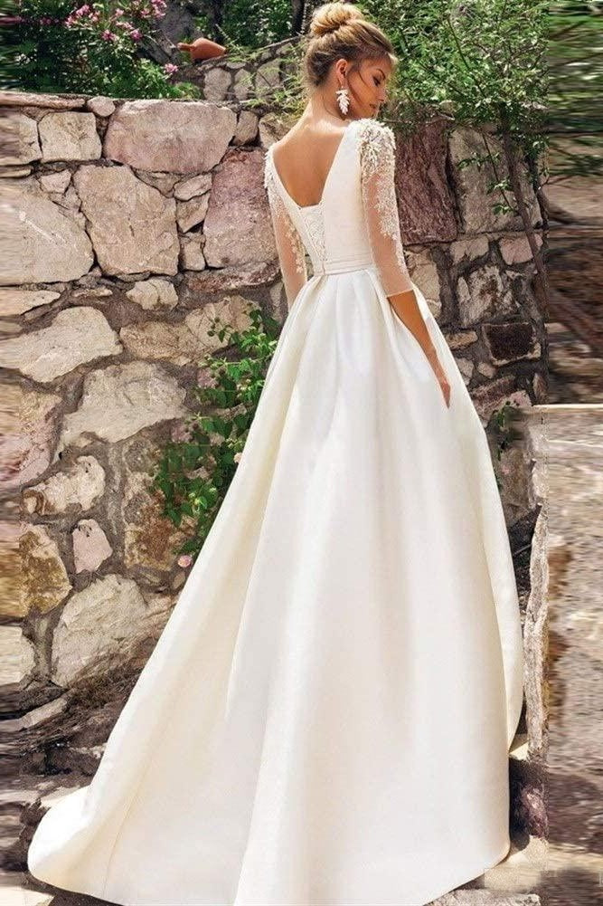 Unique Beaded-Sleeve Satin A-Line Wedding Dress - Mr. & Mrs. Tomorrow