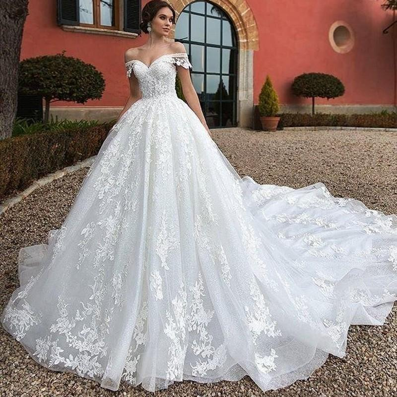 Romantic Off-Shoulder Ball Gown with Exquisite Lace Applique and Court Train - Mr. & Mrs. Tomorrow