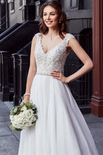 Lace Top A-Line Wedding Dress with Sweep Train - Mr. & Mrs. Tomorrow