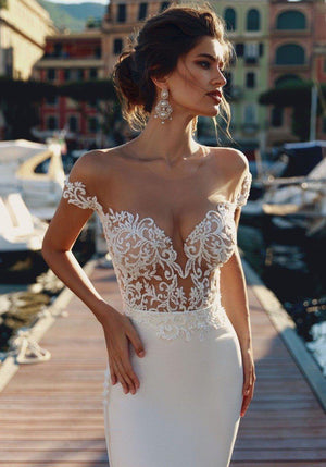 Sexy Off The Sleeve Illusion Top Backless Trumpet - Mr. & Mrs. Tomorrow