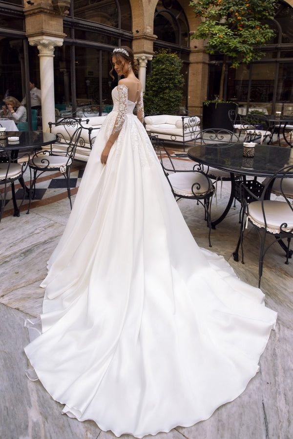 Romantic Ball Gown with Straight Across Neckline and Illusion - Mr. & Mrs. Tomorrow