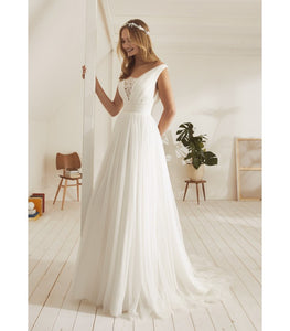 V-neck with Lace Cleavage Cover A-Line Wedding Gown - Mr. & Mrs. Tomorrow