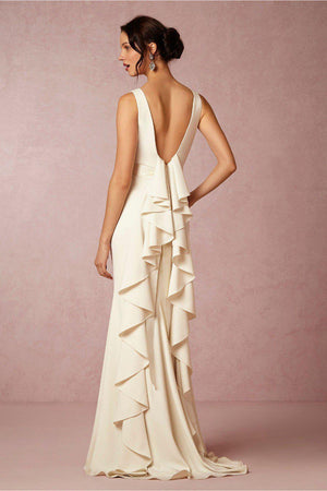 Simple Backless Mermaid Wedding Dress with Ruffled Satin Back - Mr. & Mrs. Tomorrow