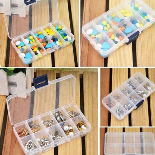 10 Slot Jewelry Rings Adjustable Tool Box Case Craft Organizer Storage Beads