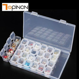 1Pc Plastic 28 Slots Adjustable Jewelry Plastic Storage Box Craft Organizer Beads Multi Nail Art Tip