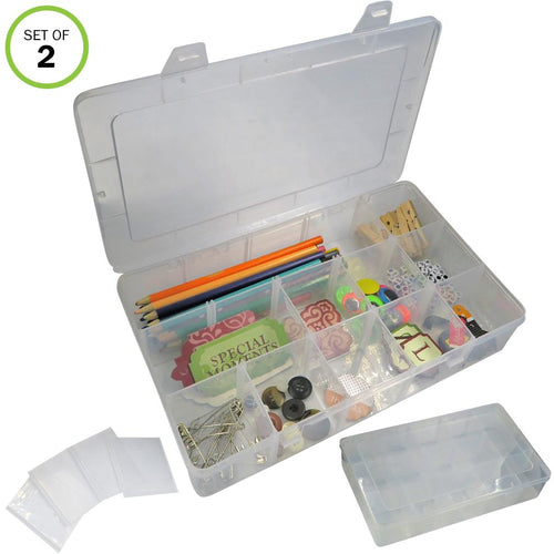 Evelots Craft/Jewelry Storage Box-Clear-Nail/Coins-30 Movable Slots Total-Set/2