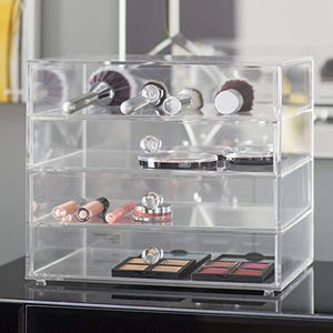 Amazon acrylic plastic handcrafted transparent clear 4 tier drawer storage organizer case for jewelry makeup cosmetic oversized 12 7l x 9 8w x 10 9h inches
