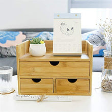 Load image into Gallery viewer, Storage 100 natural bamboo wood shelf organizer for desk with drawers mini desk storage for office supplies toiletries crafts etc great for desk vanity tabletop in home or office