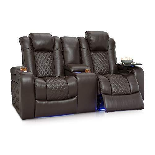 Storage seatcraft anthem home theater seating leather power recline loveseat with center storage console powered headrests storage and cupholders brown