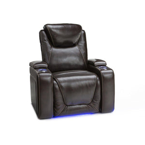 Shop here seatcraft equinox home theater seating leather power recliner adjustable power headrest adjustable powered lumbar support usb charging storage soundshaker lighted cup holders brown