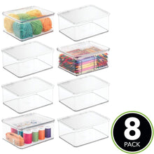 Load image into Gallery viewer, Select nice mdesign stackable plastic craft sewing crochet storage container bin with attached lid compact organizer and holder for thread beads ribbon glitter clay small 3 high 8 pack clear