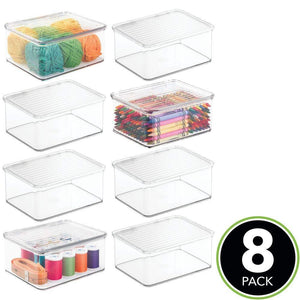 Select nice mdesign stackable plastic craft sewing crochet storage container bin with attached lid compact organizer and holder for thread beads ribbon glitter clay small 3 high 8 pack clear