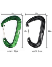 Load image into Gallery viewer, Buy now kimjee 12kn wire gate carabiners d shape aircraft grade aluminum clip for keychain hammocks camping hiking backpack dog leash green black 5