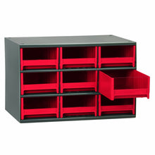 Load image into Gallery viewer, Buy now akro mils 19909 17 inch w by 11 inch h by 11 inch d 19 series 9 drawer steel parts storage hardware and craft cabinet red drawers