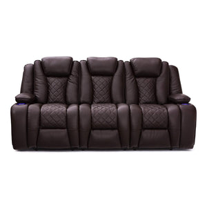 Top seatcraft europa home theater seating power recline leather gel sofa adjustable powered headrests cup holders power charging station hidden in arm storage sofa brown