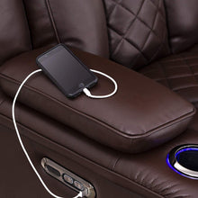 Load image into Gallery viewer, Storage seatcraft europa home theater seating power recline leather gel sofa adjustable powered headrests cup holders power charging station hidden in arm storage sofa brown