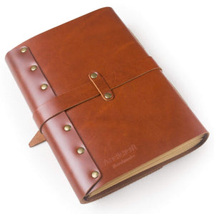 Buy ancicraft classic genuine leather journal with strap buckle handmade a5 lined craft paper red brown with gift box red brown a55 8x8 3inch lined craft paper