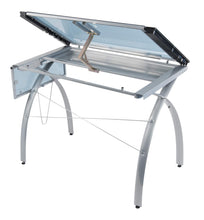 Load image into Gallery viewer, Products sd studio designs futura craft station w folding shelf top adjustable drafting table craft table drawing desk hobby table writing desk studio desk w drawers 35 5w x 23 75d silver blue glass