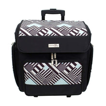 Load image into Gallery viewer, Home everything mary wit deluxe teal geometric rolling organizer papercrafting storage tote for paper binder tools scissors stamps telescoping handle with dual wheels craft case