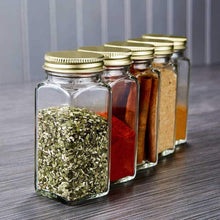 Load image into Gallery viewer, Latest 12 square clear glass bottles containers jars 4oz with gold metal lids and shaker tops empty organizer set deluxe decorative modern spices seasoning food crafts gifts