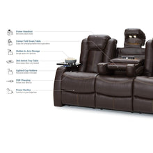 Load image into Gallery viewer, Save seatcraft 162e51151559 v1 omega home theater seating leather gel recline sofa with adjustable powered headrests fold down table and lighted cup holders brown