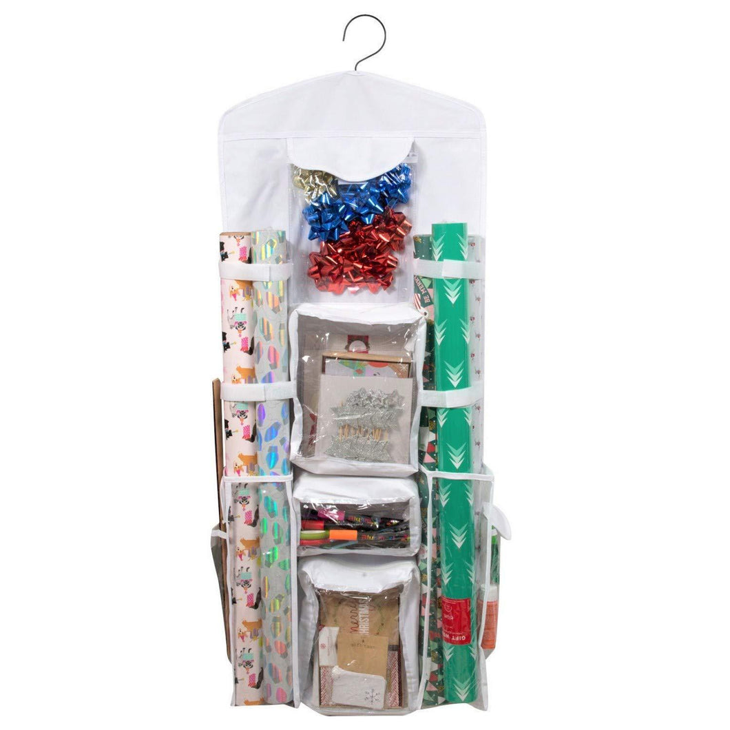 New houseables wrapping paper storage gift wrap organizer 10 pockets 43 x 17 white clear plastic home closet organization hanging craft holder for christmas decorations ornaments ribbons