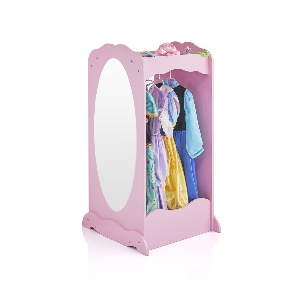 Kitchen guidecraft dress up cubby center pink costumes accessoires storage shelf and rack with mirror for little girls and boys toddlers wooden wardrobe closet